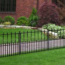 Hampton Bay Empire 30 In X 36 In Black Steel 3 Rail Fence Panel 860190 The Home Depot Fence Panels Fence Landscaping Aluminum Fence