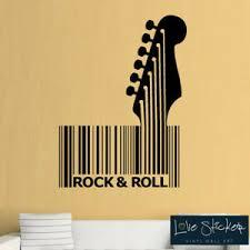 Wall Stickers Rock N Roll Guitar Barcode Music Studio Cool Art Decal Vinyl Room Ebay