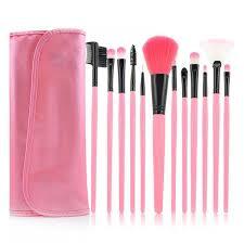 makeup brush set 12 pcs pink case faux