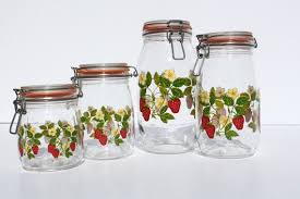 vintage arc glass canisters