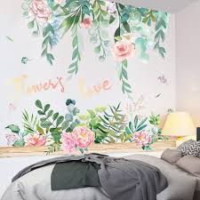 Shijuekongjian Flower Wall Stickers Vinyl Diy Leaves Grass Wall Decals For Living Room Bedroom Shop Kitchen Home Decoration Wall Stickers Aliexpress