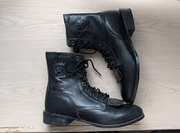 black leather boots ariat lace up