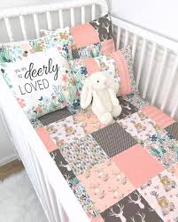 woodland baby girl blanket deer crib