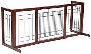 Amazon Com Topeakmart Adjustable Indoor Pet Fence Gate Free Standing Dog Gate Solid Wood Construction Pet Supplies