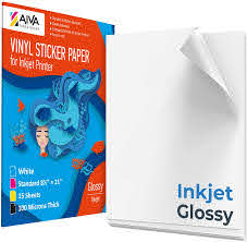Amazon Com Printable Vinyl Sticker Paper For Inkjet Printer Glossy White 15 Self Adhesive Sheets Waterproof Decal Paper Standard Letter Size 8 5 X11 Office Products