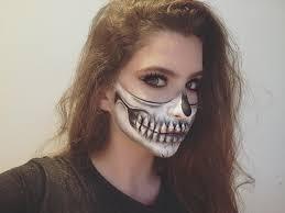 half face skeleton makeup tutorial