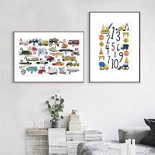 Woodland Animal Alphabet And Number Educational Posters And Prints Nursery Wall Art Canvas Painting Pictures Kids Room Wall Deco Painting Calligraphy Aliexpress