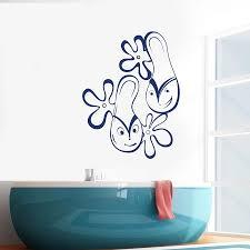 Wall Decal Funny Contour Flip Flops With Eyes Vinyl Window Sticker Bedroom Bathroom Flower Home Decor Waterproof Art Mural M091 Wall Stickers Aliexpress