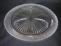 miss america cake plate crystal old