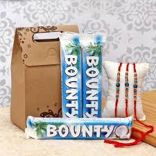 rakhis with 3 chocolate bars gift set