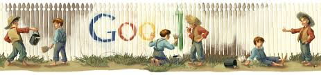 Google S Mark Twain Birthday Logo Features Tom Sawyer Getting Out Of Painting That Fence