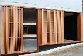 timber shutters outdoor shower