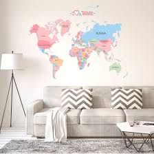 Shop World Map Wall Stickers Removable Diy Paper Decal For Bedroom Living Room Multicolor Overstock 30027185