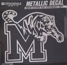 Memphis Tigers 12 Large Silver Metallic Vinyl Auto Decal University Of For Sale Online