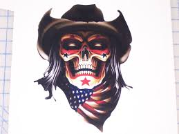 Rodeo Clown American Flag Skullfull Color Graphic Window Decal Stick