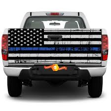 Thin Blue Line Flag Graphic Rear Window Or Tailgate Decal Sticker Pick Up Truck Suv Car