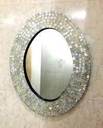 pewter oval home bathroom mirror decor