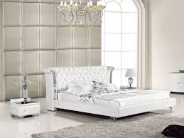 white genuine leather queen bed w