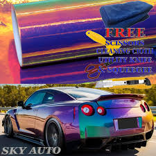 Amazon Com Sky Auto Inc Holographic Rainbow Purple Neo Chrome Car Vinyl Wrap Sticker Decal Film Sheet Free Air Bubble Free Cutter Cleaning Cloth Scissors Squeegee 12 X 54 1ft X 4 5ft