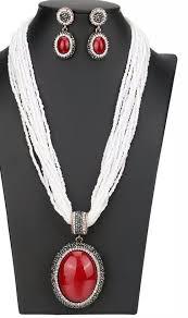 beads jewelry set big pendant necklace