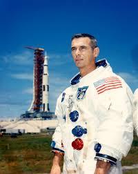 Apollo 10 Lunar Module Pilot Gene Cernan poses at pad 39-B…