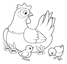 Tranh tô màu con gà dễ thương đẹp nhất cho bé 2-8 tuổi