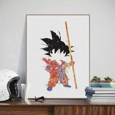 Watercolor Cartoon Dragon Ball Son Gohan Wall Art Home Decor Canvas Painting Art Nordic Decoration Nursery Kids Room Poster A539 Painting Calligraphy Aliexpress