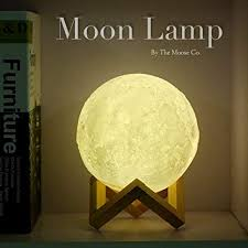Amazon Com Moon A Lamp By Bam Boo 3d Glowing Lamp Home Decorative Hanging Light With Wood Holder Warm And Cool White Dimmable Touch Control Night Light For Kids Room 10cm Baby