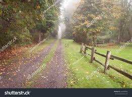 Autumn Rural Driveway Split Rail Cedar Stock Photo Edit Now 226450606