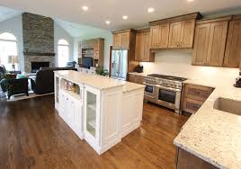 two toned kitchen with white island and