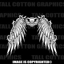 Owl Skull With Wings Vinyl Decal 167