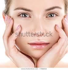 woman face natural makeup look stock