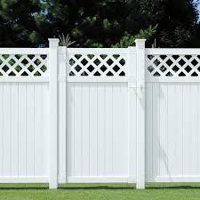 Veranda Lewiston 6 Ft H X 6 Ft W White Vinyl Lattice Top Fence Panel 128011 The Home Depot