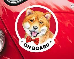 Shiba Inu On Board Car Window Sticker For Women Akita And Etsy