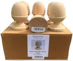 Ivisons 4 Decorative Wooden Acorn Finials For Fencing And Decking Free Screw Amazon Co Uk Garden Outdoors
