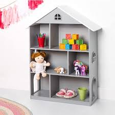 Amazon Com Wildkin Kids Wooden Dollhouse Bookcase For Girls Measures 42 X 12 X 33 Inches Dollhouse Bookshelf Keep Toys Games Books And Art Supplies Organized Ideal For Bedroom Or Playroom Bpa Free Grey