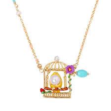enamel glaze bird pearl flower birdcage