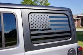 Usa Flag Side Window Decal Kit Matte Black Ebay