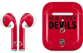 Amazon Com Skinit Decal Audio Skin Compatible With Apple Airpods With Wireless Charging Case Officially Licensed Nhl New Jersey Devils Lineup Design
