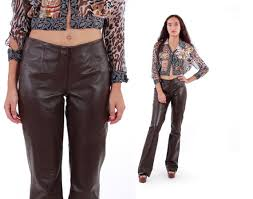 brown leather pants 90s vintage shiny