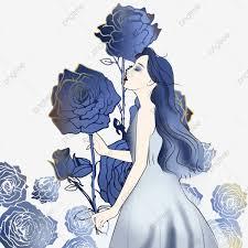 إلهة مرسومة باليد رسمت وردة زرقاء مرسومة باليد فتاة رسمت وردة