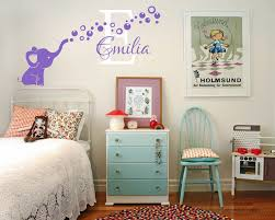 Customized Name Wall Stickers Elephant Bubbles Initial Letter Vinyl Wall Art Decalal