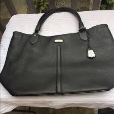 drop black leather tote bag