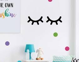Sleepy Eyes Decal Eyelash Wall Decals Girls Bedroom Decal Etsy Nursery Wall Decals Bedroom Decals Art Wall Kids
