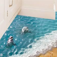 3d Blue Sea Floor Sticker Beach Wall Sticker Waterproof Removable Mural Decals For Home Decoration Walmart Com Walmart Com