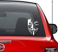 Amazon Com Anonymous Mask Vendetta Vinyl Decal Sticker Car Truck Vehicle Bumper Window Wall Decor Helmet Motorcycle And More Size 9 Inch 23 Cm Tall Color Matte White