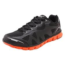 black and orange leather running shoes
