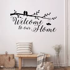 Welcome To Our Home Decal Birds And Branch Hearts On A Etsy Wall Decals Living Room Small Apartment Decorating Cloud Wall Decal