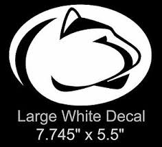 Penn State Logo Large White Decal Sticker 7 75 Inch Decal Sticker Free Ship Ebay