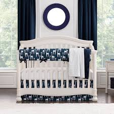 navy blue and grey nursery bedding